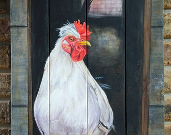Original Rooster Painting on wood, farmhouse decor, rooster decor, rooster art, rooster gifts