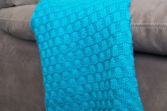Items Similar To Knit Pattern Wavy Checkerboard Baby Blanket On Etsy