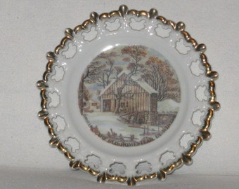 Vintage Collector's Plate - Currier & Ives - The Old Homestead In Winter - Decorative Wall Plate - Lace Cutwork Edging - Home Decor