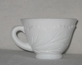 Milk Glass Punch Cup- Pebble Leaf Pattern- Indiana Glass Co.- Pure White Punch Cup- Embossed Leaf- Vintage Coffee Cup- Milk Glass Tea Cup