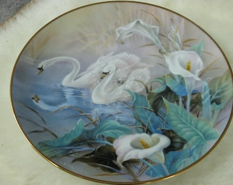 Lena Liu Collector's Plate - The Swans - First Issue - On Wings of Snow -  1991 Lena Liu Limited Edition - Vintage Home Decor - White Swans