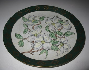 Dogwood Collectors Plate - Vintage Ceramic Decorative Plate - White Dogwood Blossom - Home Decor - North Carolina and Virginia State Flower