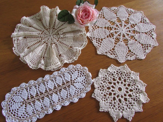 Bulk Lot Of 4 Ecru Crocheted Doilies Vintage Doilies Etsy