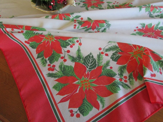 Large Vintage Christmas Tablecloth Red And Green Poinsettias   Etsy