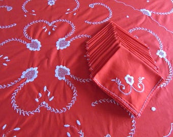 Exceptional Large Rectangle Embroidered Red Tablecloth - Twelve Matching Napkins - Hand Embroidered
