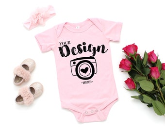 Valentine's Day Mockup Bella Canvas 100B Pink Unisex One Piece Flat Lay Bodysuit Mock Up Mock Up Flat Lay Basic Flat Lay toddler mock up