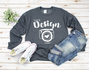 5d2010b4 Gildan 18000 Heavy Blend Crewneck Sweatshirt Dark Heather Sweatshirt Mockup  18000 Mock Up Flat Lay Gildan