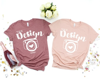 Bella Canvas 3001 heather mauve- heather peach Flat Lay Mock Up party Style Bridal Flat Lay Bella Canvas mock up T-shirt Mockup