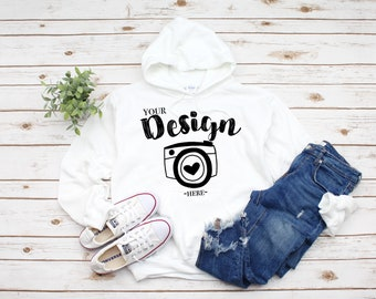 Download Free Gildan 18500 Hooded Sweatshirt Brand White hoodie Mockup t-shirt mockup gildan Flat Lay Shirt Mock Up White Wooden Background PSD Template