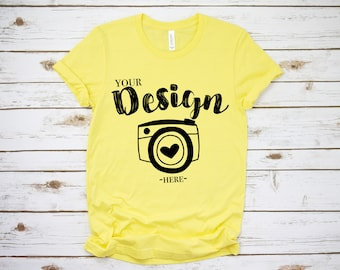 Download Free Bella Canvas 3001 yellow Unisex T-shirt Mock Up, T-Shirt Mock Up, bella canvas 3001 mockup yellow,Mock Up,Bella Canvas mock up t-shirt PSD Template
