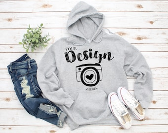 76718a5b0b8 Gildan 18500 Hooded Sweatshirt Brand Sport Grey hoodie Mockup t-shirt  mockup gildan Flat Lay Shirt Mock Up White Wooden Background