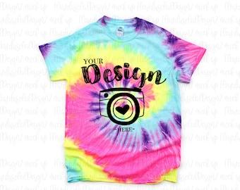 Neon Rainbow CD100 Tie Dye Mock Up Tie Dye Mock-up Colortone CD100 Neon Rainbow MockUp Tie Dye Shirt Mock Up Tie Die SVG Mockup