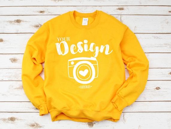 Oro di Gildan 18000 Heavy Blend Crewneck Sweatshirt felpa Mockup 18000 Mock Up piatto Lay Gildan Mockups felpa Mockup