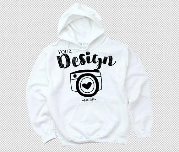 PNG Gildan 18500 marque de sweat à capuche hoodie blanc maquette gildan plat poser chemise Mock Up Transparent PNG Sweatshirt modèle