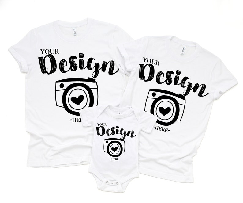 a1c72aefe6d61 Family Blank White T-Shirt Bella Canvas 3001 & 100b White Mock Up Shirts  Family Flat Lay bella canvas mockups Family Flat toddler