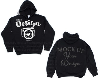 gildan front and back Gildan18500 Hooded Sweatshirt Brand Black hoodie Mockup t-shirt mockup gildan Flat Lay Shirt Mock Up