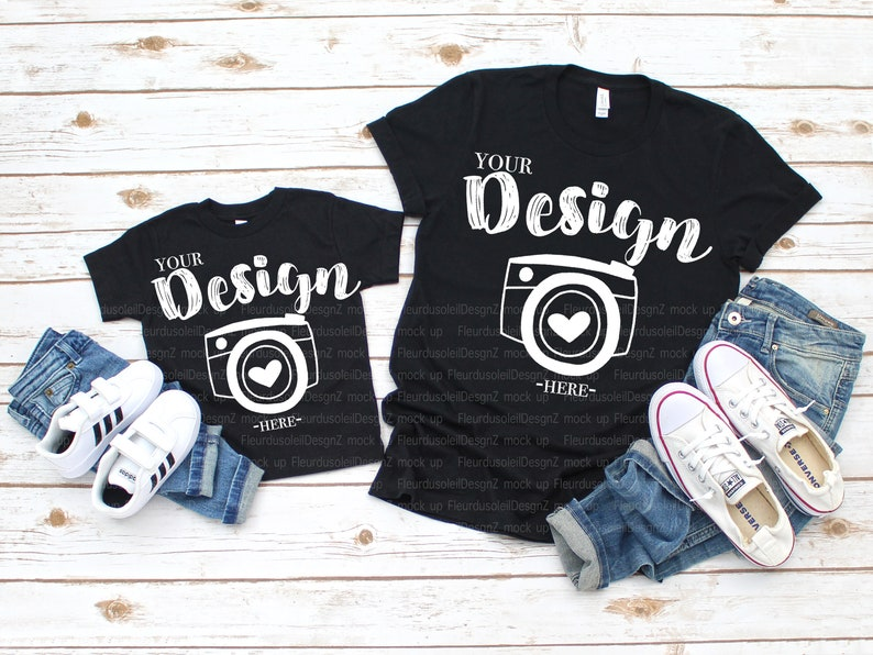 ccce207b8ab11 Bella Canvas 3001 Black Bella Canvas 3001t mockup toddler Flat Lay Bella  Canvas mock up unisex Family Flat mommy and me mock up