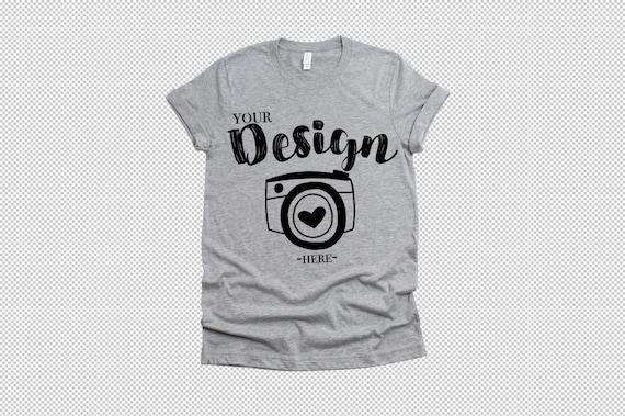 Bella Canvas 3001 Athletic Heather Flat lay Mockup Modeled T-Shirt Mockup