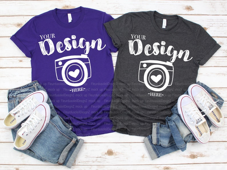 c4e1ad9d5a4c6 Family Blank T-Shirt Bella Canvas 3001 Team Purple& Dark grey heather Mock  Up Shirts Family Flat Lay bella canvas mockups Couple