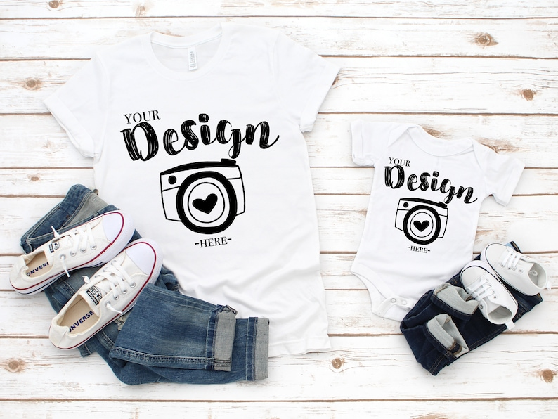 5112c0d074a03 Bella Canvas 3001 Bella Canvas 100b white mockup toddler Flat Lay family  blank white t-shirt mommy and me mock up