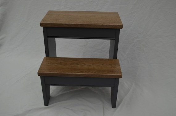 Superbe Step Stool Glazed Granite Gray Base With Walnut Steps | Etsy