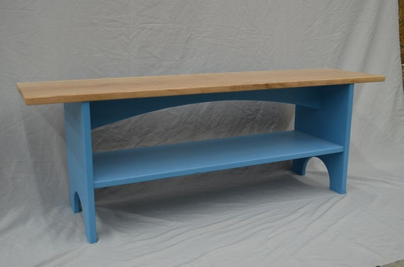 Wondrous Sitting Bench Storage Bench Entryway Bench With Shelf In Lightning Rod Blue With Cherry Hardwood Top Custom Sizes And Colors Available Short Links Chair Design For Home Short Linksinfo