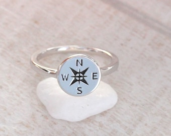 Silver Compass Ring functional compass handmade in sterling silver