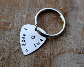 Guitar Pick Keychain, Guitar Player Gift, Personalized Hand Stamped Keychain, I Pick You, Music Lover, Musician Gift, Anniversary Gift
