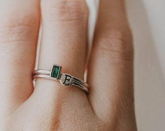 Set of 2 - Stackable Rings, Stacking Birthstone Rings, Initial Rings, Dainty Ring, Stackable Birthstone, Silver Stacking Rings. Initial Ring