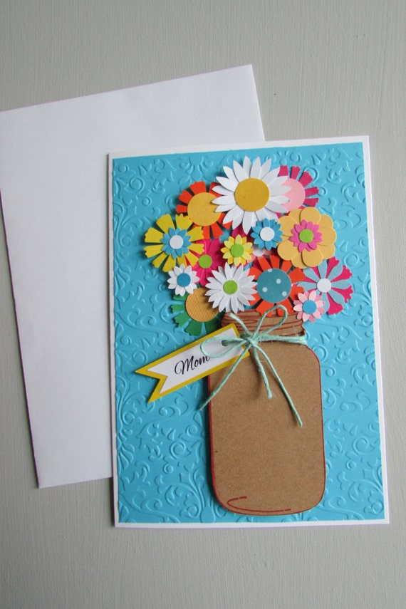 Items Similar To Mason Jar Bouquet Cards-Mother's Day Card