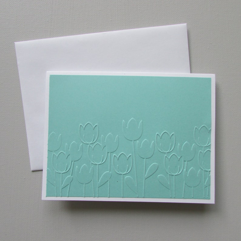 6 Tulip Embossed note cards-blank mint card sets Thank you cards all occasion spring cards HostessTeacher gift idea HandmadeHomemade cards