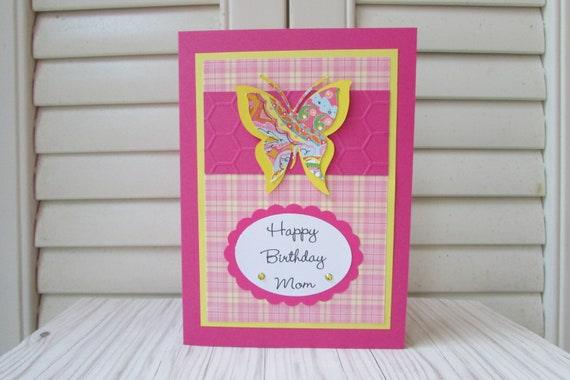 Birthday Card For Mom Greeting Cardsbutterfly Cards5 X 7 Etsy