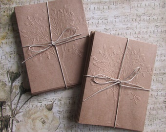 Tree embossed cards-set of 6,Blank cards,all occasion cards,brown kraft nature card set,stationery,teacher gift idea,handmade/homemade cards