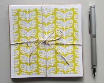 6 Note cards-all occasion blank cards,leaf stationery set,teacher gift idea,5.5X5.5 cards,teen/tween/pen pal cards,handmade/homemade cards