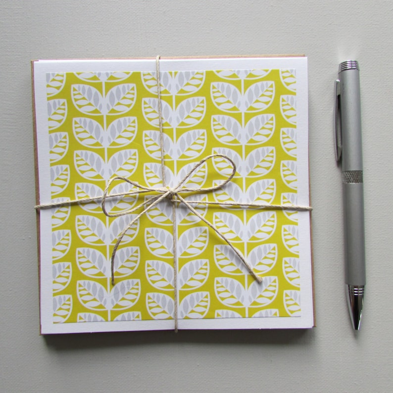 Note cards-6-all occasion blank cards yellow stationery set teacher gift  idea 5 5X5 5 cards teen/tween/pen pal cards handmade/homemade cards