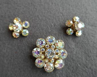 Kramer Rhinestone Brooch and clip Earrings