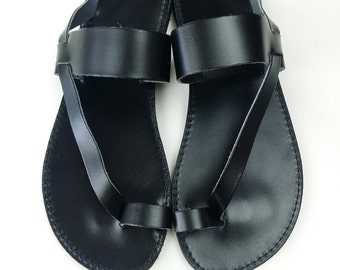 Men Sandals - Toering Black Leather Flat Sandal - Handmade Greek Sandals