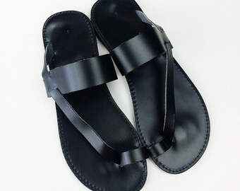 Toering Black Leather Flat Sandal - Handmade Greek Sandals