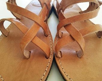 Hommes sandales-antique grec sandales en brun naturel cuir couleur pour homme en cuir sandales - hommes appartements