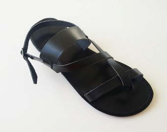 Hommes sandales - grec des sandales en cuir de couleur noir - hommes à la main noir sandales - pour lui