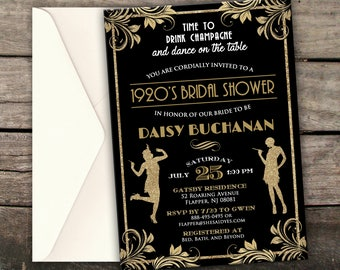 Gatsby bridal shower etsy quick view 10 off new printed or digital roaring 20s bridal shower invitation great gatsby filmwisefo