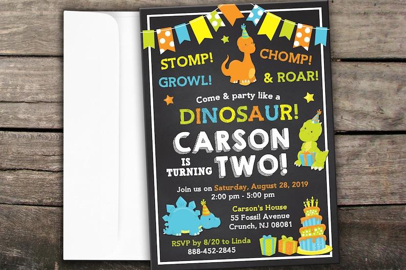 10 OFF NEW Printed Or Digital Dinosaur Birthday Invitation Dino Party Printable