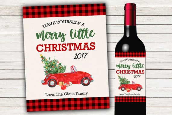 Printed Or Digital Christmas Wine Bottle Labels Holiday Wine Etsy