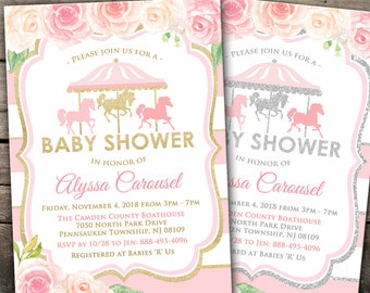 10% OFF Printed or Digital Carousel Baby Shower Invitation Pink Gold/Silver Baby Shower Invitation Carousel Baby Shower Carnival Baby Shower