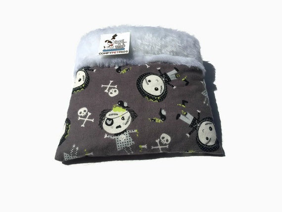 Hedgehog Snuggle Sack with Zombies, Carrier Pouch, Hamster Bedding, Nesting Supplies, Cuddle Bag, Small Animal Bedding, 3 layers