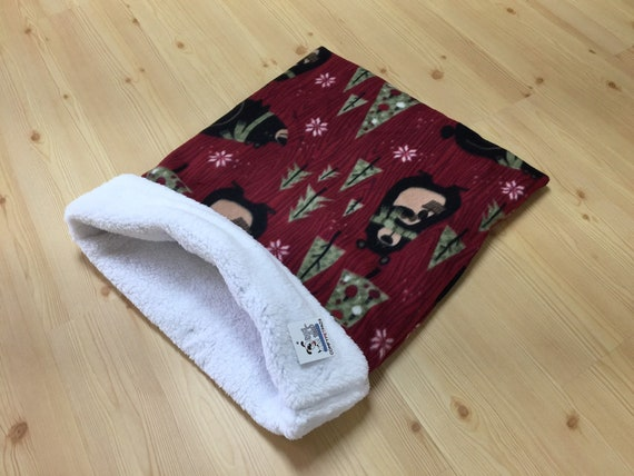 Christmas Snuggle Sack, Dog Sleep Bag, Cat Burrow Bag, Sphynx Bedding, Washable, Size 28x20 uncuffed