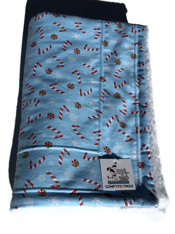 Candy Cane Christmas Blanket, Dog Blanket, Pet Blanket, Blue Blanket, Christmas Decor, Christmas Gifts, Holiday Decor, Candy Cane Fabric