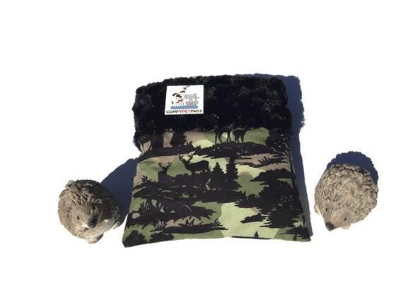 "Camo Snuggle Sack - Hedgehog Pouch - Minky Swirl Fur - Small Animal Bedding - 3 layers - Size 9""x9"" - Washable"