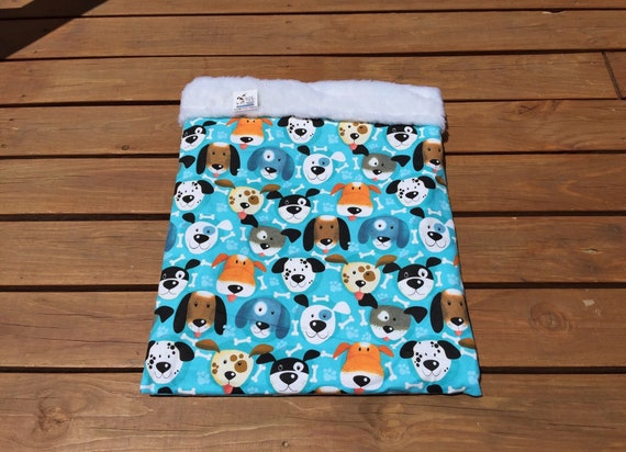 Blue Snuggle Sack, Gifts for Pets, Colorful Dog Gift, Burrow Bag, Dachshund Bedding, Blanket, Doxie Bed Warmer, Chihuahua Dog, MinPin, SSL