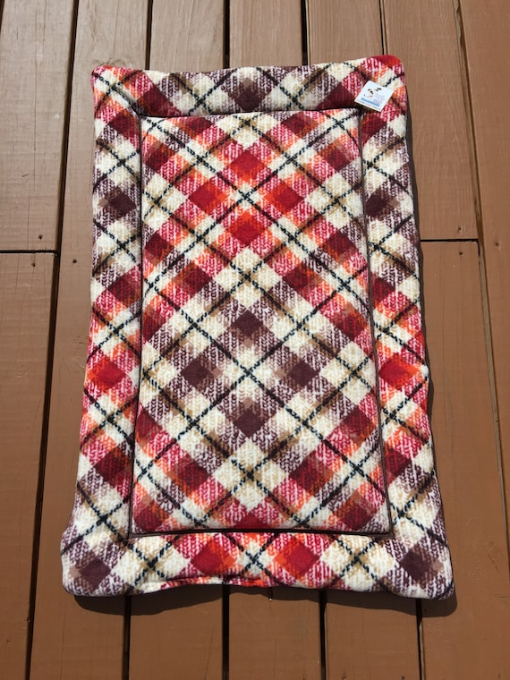 Autumn Plaid Pet Bed, Crate Pad for Dogs, Fall Decor, Comfy Pet Bed, Travel Pet Bed, Puppy Kennel Bedding, Washable, Fits 24x36 Crate